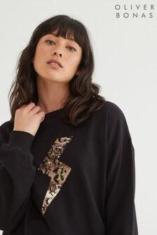 Oliver Bonas Animal Bolt Sequin Black Sweatshirt