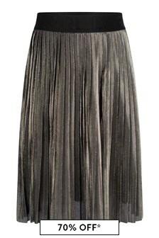 Girls Gold Pleated Skirt