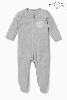 MORI Grey Zip-Up Sleepsuit