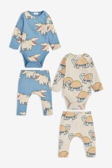 Multi Animal 4 Piece Organic Cotton Bodysuit And Leggings Set (0mths-3yrs)