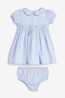 Blue Boat Embroidery Dress With Matching Knickers (0mths-2yrs)