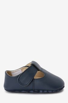 Navy Leather T-Bar Pram Shoes (0-24mths)