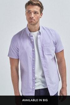 Lilac Regular Fit Short Sleeve Oxford Shirt