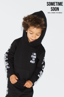 Sometime Soon Black Slogan Hoody