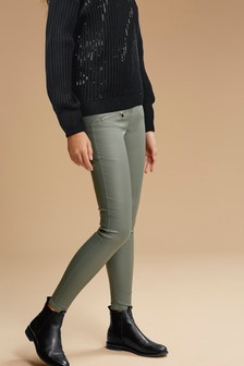 Sage Coated Denim Biker Skinny Jeans