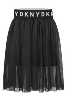 Girls Black Mesh Layered Milano Skirt