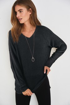 Black Long Cosy V-Neck Tunic