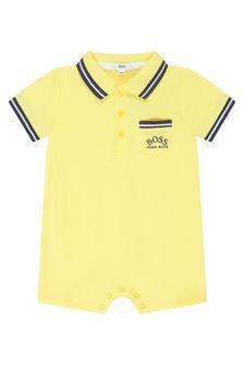 Boss Kidswear Baby Boys Yellow Cotton Romper