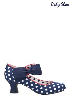 Ruby Shoo Blue Trixie Bow Trimmed Low Heeled Bar Shoes