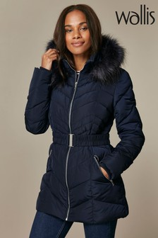 Wallis Navy Short Belted Quilted Coat