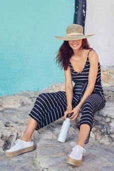 Navy Stripe Crinkle V-Neck Jumpsuit