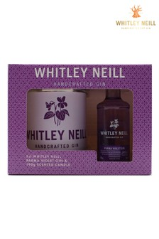 5cl Parma Violet Gin And Large Candle Gift Set by Whitley Neill