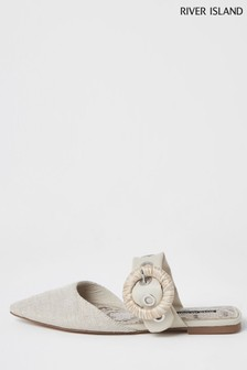 River Island Cream Eyelet Strap Flat Shoes