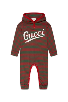 Baby Boys Red Cotton Logo Striped Hooded Babygrow