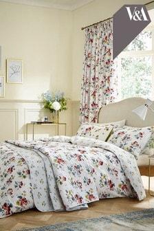 V&A Sweet Geranium Duvet Cover and Pillowcase Set