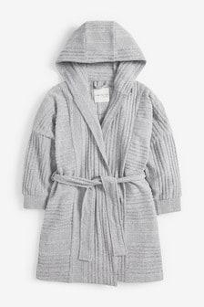 Grey Knit Look Rib Robe (3-16yrs)