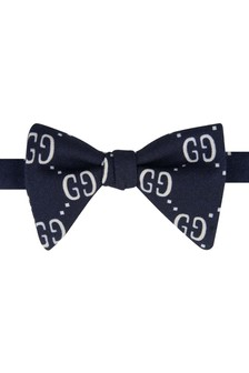 Boys Navy Blue Wool And Silk Bow Tie