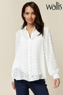 Wallis Petite Ivory Dobby Print Shirt