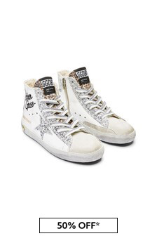 Kids White Leather & Glitter High Top Trainers