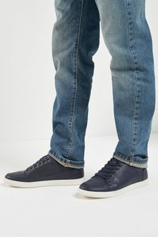 Navy Perforated Trainers