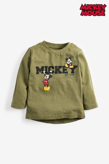 Khaki Mickey Mouse™ Long Sleeve Jersey T-Shirt (3mths-8yrs)