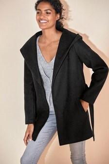 Black Belted Hooded Coat