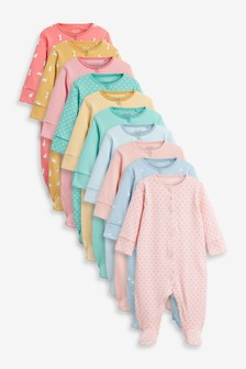 Multi Bright 10 Pack Sleepsuits (0mths-2yrs)