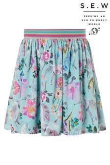 Monsoon Blue S.E.W Armelle Unicorn Print Skirt