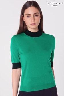 L.K.Bennett Green Hanna Short Sleeve Merino Wool Knit Jumper