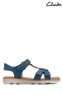 Clarks Mid Blue Leather Crown Flower K Sandals