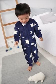 Navy Star Fleece Sleepsuit (9mths-8yrs)