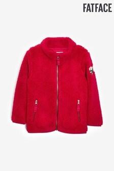 FatFace Red Zip Through Badged Fleece Sweater