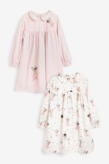 Pink/Cream 2 Pack Fairy Nighties (2-12yrs)
