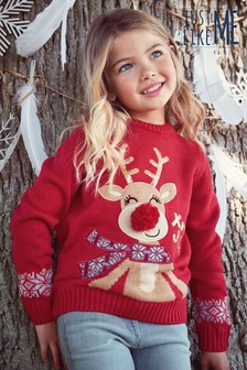 Matching Family Red Rudolph Christmas Jumper (3-16yrs)