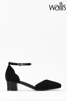 Wallis Black Becca Ankle Strap Low Block Heels