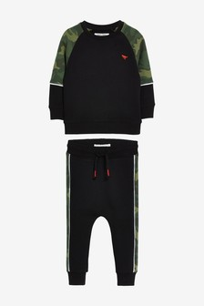 Black/Green Camo Colourlock Crew And Jogger Set (3mths-7yrs)