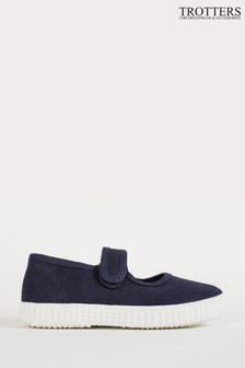 Trotters London Navy Martha Canvas Shoes