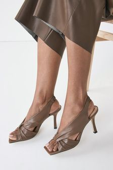 Taupe Signature Leather Twist Detail Sandals