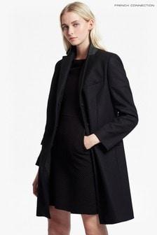 French Connection Black Platform Felt Smart Coat