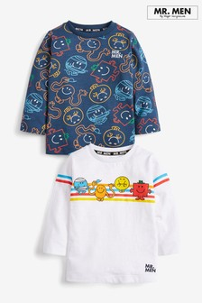 Navy/White 2 Pack Mr Men Jersey Long Sleeve T-Shirts (3mths-8yrs)