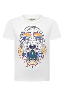 Boys White Tiger Jersey T-Shirt