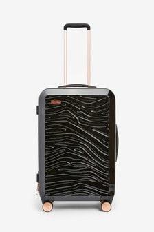 Black Medium Zebra Embossed Hard Shell Suitcase