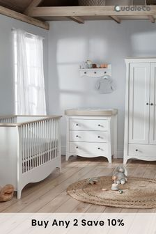 Ash Cuddleco Clara 3pc Set Cot Bed, 3 Drawer Dresser and Changer and 2 Door Double Wardrobe