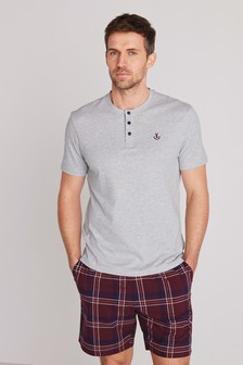 Grey/Plum Check Woven Pyjama Set