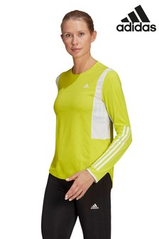 adidas Own The Run 3 Stripe Long Sleeve T-Shirt