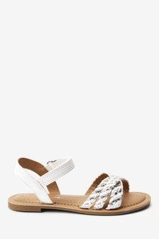 White/SIlver Plaited Sandals