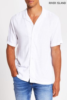 River Island White Short Sleeve Linen Mix Revere Collar Shirt