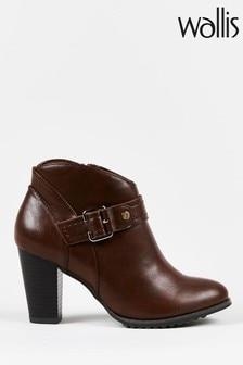 Wallis Adaline Cognac Curved Topline Buckle Boots