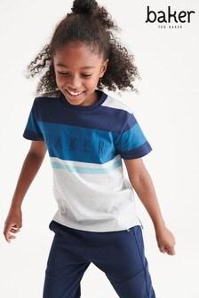 Baker by Ted Baker Grey/Blue Stripe T-Shirt