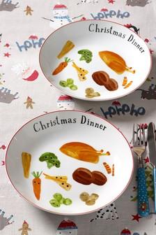 Set of 2 Children's Christmas Dinner Plates